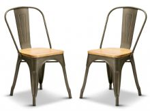 Pair of 2 Gun Metal With Oak Seat Industrial Tolix Style Dining Chairs 1/2 Price Deal